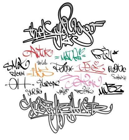 graffiti: Graffiti urbano etiquetas firma Vectores