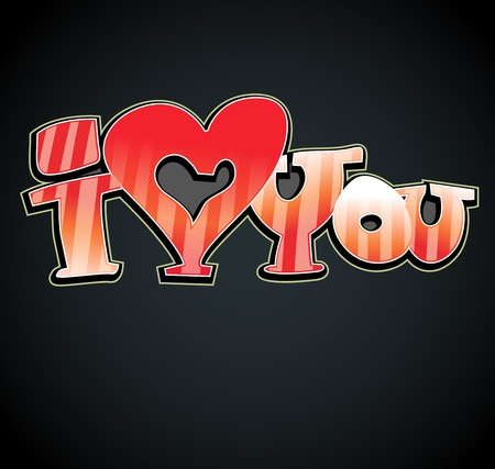 I love you graffiti art Vector