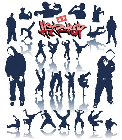 baile hip hop: personas de baile, vector breakdance hip hop de graffiti Vectores