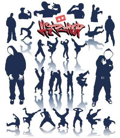 dance hip hop: personas de baile, vector breakdance hip hop de graffiti Vectores