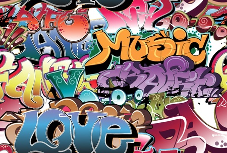 hip hop dance: Graffiti urban background seamless