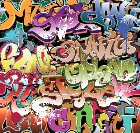 graffiti art: Graffiti urban background seamless