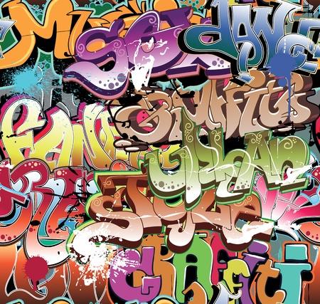 grafiti: Graffiti urban background seamless