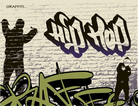 hip hop dance: graffiti wall and hip hop person  Illustration