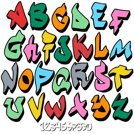 grafitis: el graffiti alfabeto fuente Vectores