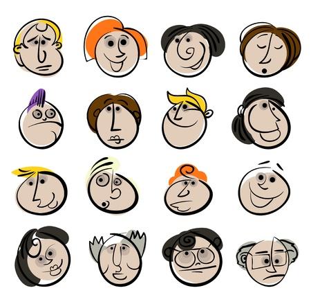 cartoon faces: People face cartoon vector icon