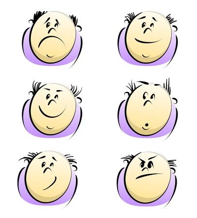 bald men: Cartoon person sketch Illustration