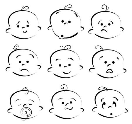 Kid face cartoon icons Stock Vector - 11486006