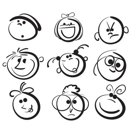 Kid face cartoon icons Vector