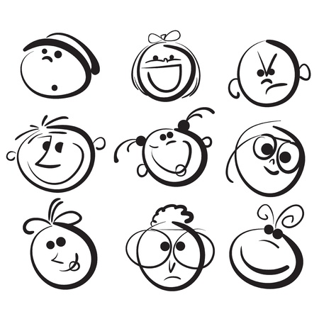 face expression: Kid face cartoon icons Illustration