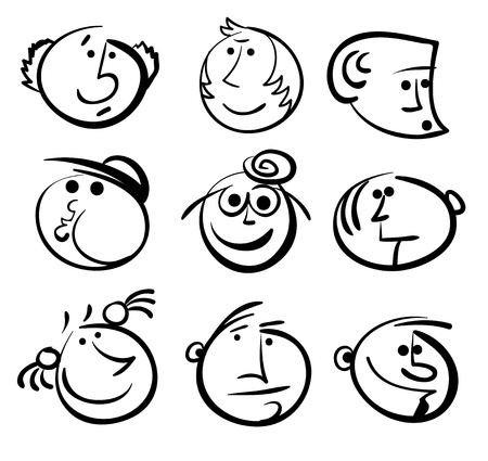 multiple family: People face cartoon vector icon