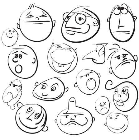 emotion faces: People face cartoon vector icon