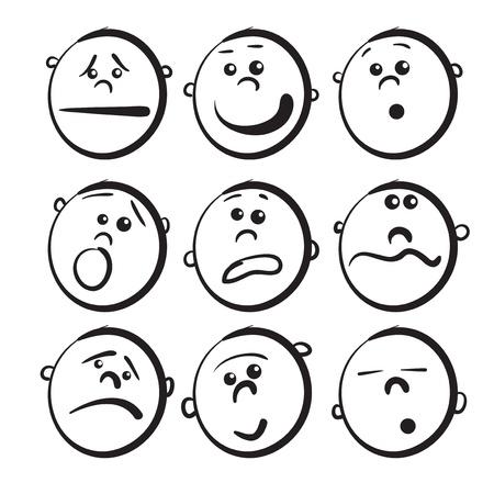 caras tristes: Ni�os iconos de la cara de dibujos animados Vectores