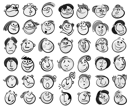 adult comic: People face cartoon vector icon