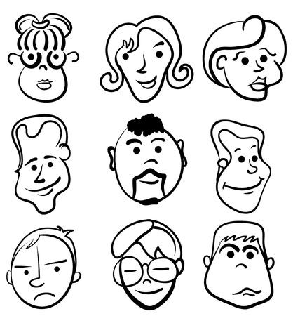 woman sketch: People face cartoon vector icon
