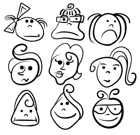 Woman cartoon face icons Vector