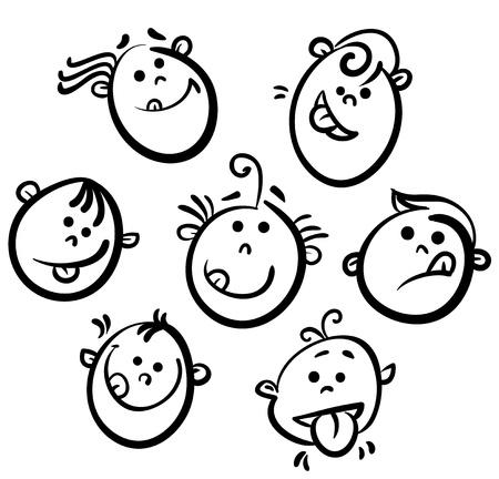 caricaturas de personas: Ni�os iconos de la cara de dibujos animados Vectores