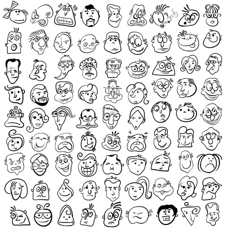 caricaturas de personas: La gente se enfrenta el icono de dibujos animados de vectores
