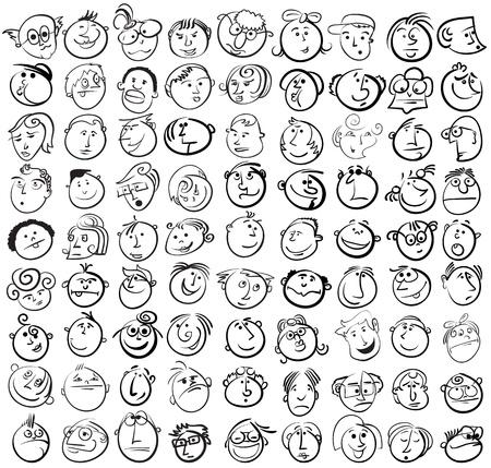 bocetos de personas: La gente se enfrenta el icono de dibujos animados de vectores