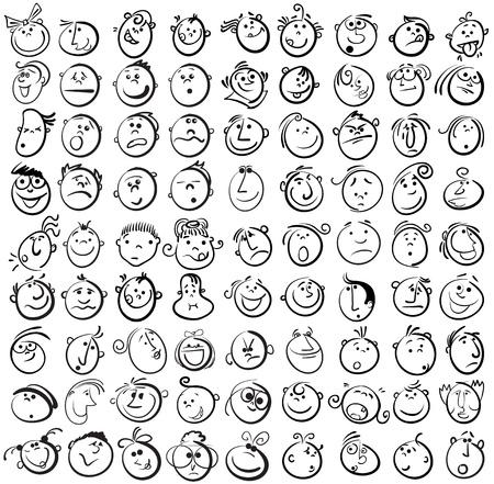 As pessoas enfrentam o ícone do vetor dos desenhos animados