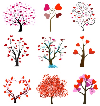wedding card design: Love concept trees with hearts. Valentine day or wedding vectors