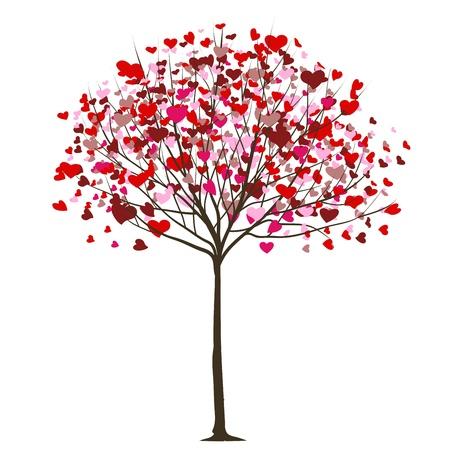 romanticismo: San Valentino albero con cuori Vettoriali
