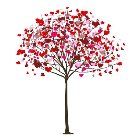 valentine tree with hearts  Ilustrace