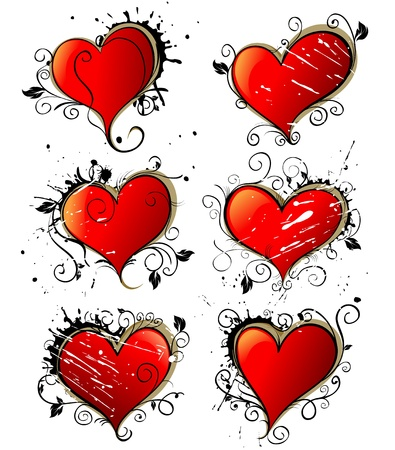 Hearts. Love vector grunge decoration. Graffiti style Vector
