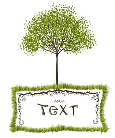 나무의 자연 벡터 프레임 디자인 일러스트