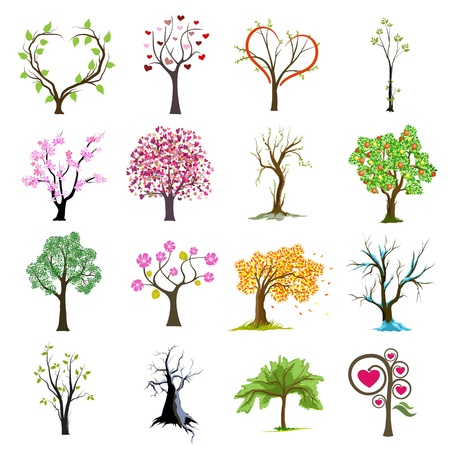 simple flower: tree vector icons design