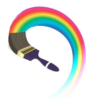 Creative graphic background concept. Paintbrush and rainbow Vector