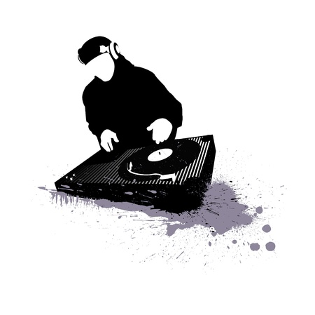 dj headphones: dj graffiti music club illustration