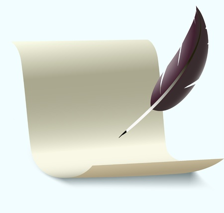 feather quill: old letter vector illustration