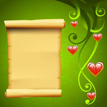 Blank parchment scroll paper and decoration elements, love vector background with red hearts Vector