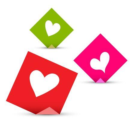 sticky notes: Valentine concept vector papieren met harten. Liefde set sticky notes