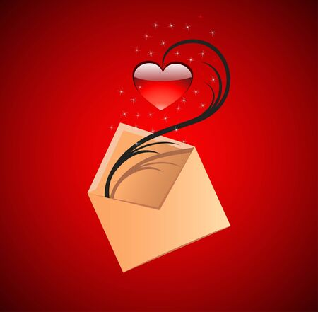 Love message concept illustration. Vector red heart Vector