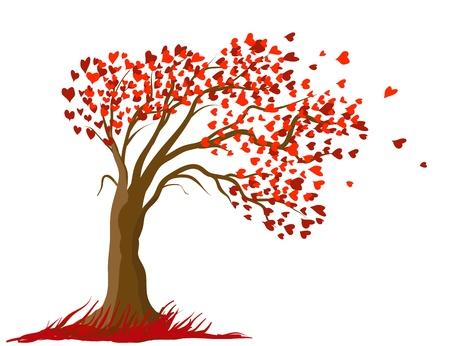 valentine tree: Love tree vector concept illustration. Romantic card design
