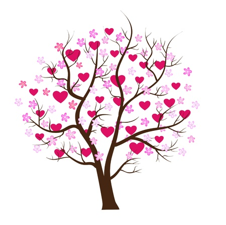 feb: Valentine day tree love vector concept Illustration