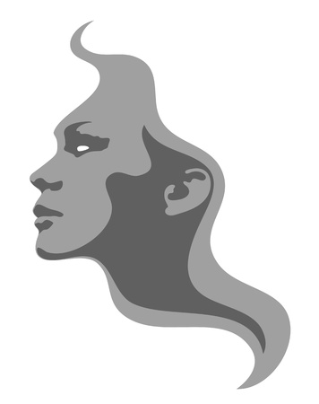 Abstract girl face. Woman profile Illustration
