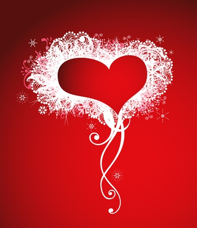 Red heart frame background. Vector decoration Vector