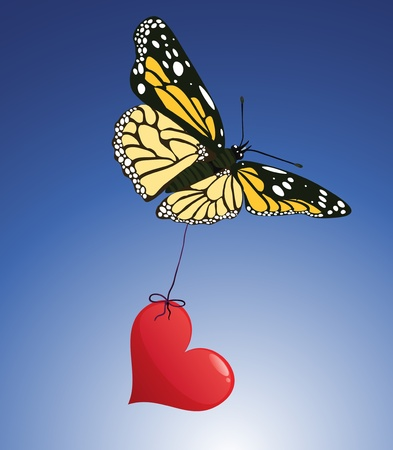 Butterfly and red heart vector love illustration Vector