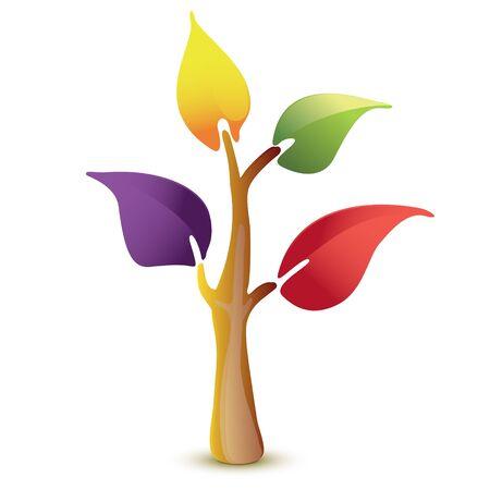 Colorful tree vector icon Illustration