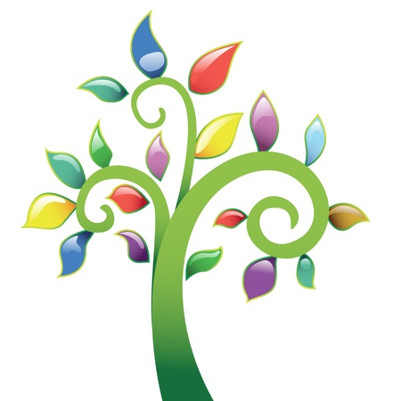 spring time: Abstract tree vecor icon Illustration