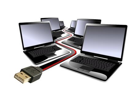 lan: Laptop computers Illustration