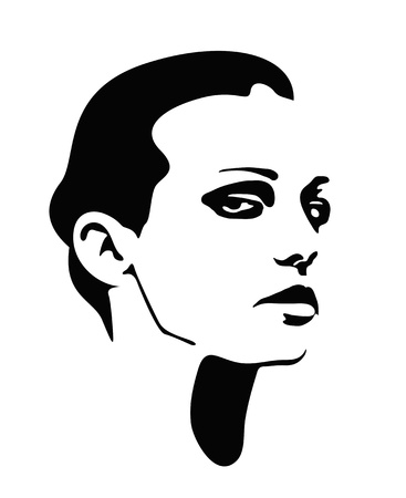 Girl face vector profile. Beautiful woman Vector
