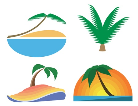 virgin islands: Palm-tree vector icons. Tropic symbols