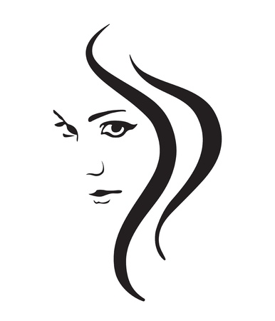 nude woman: Girl face vector symbol