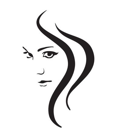 femme noire nue: Symbole vecteur fille face � Illustration