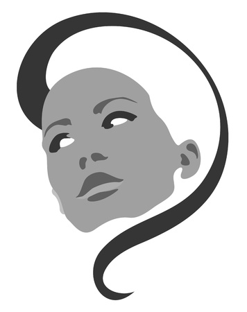 Beautiful girl face vector symbol Stock Vector - 11950596