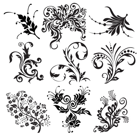 flourishes: flower vector ornament silhouettes Illustration